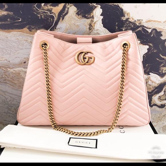 e4beffebb Gucci Bags | Gg Marmont Matelasse Leather Chain Tote | Poshmark